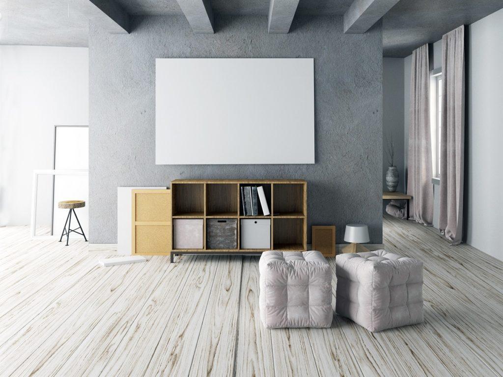 Minimalist apartment with ottomans
