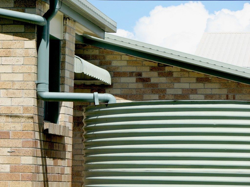 Water Tank Collecting Rain