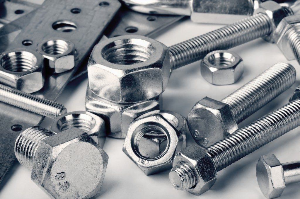 Close up of various nuts and bolts