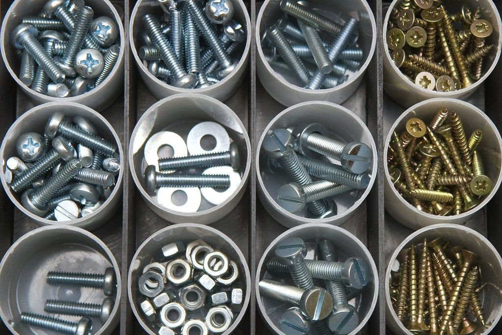 Nuts and bolts in screw box