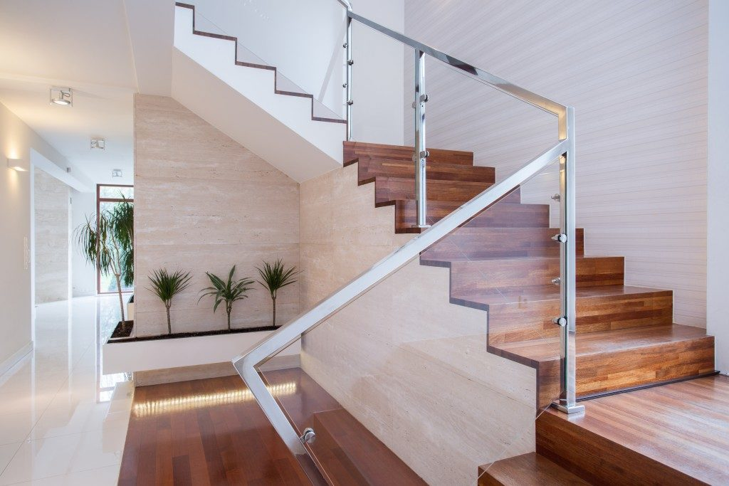 Modern staircase with wooden stair treads