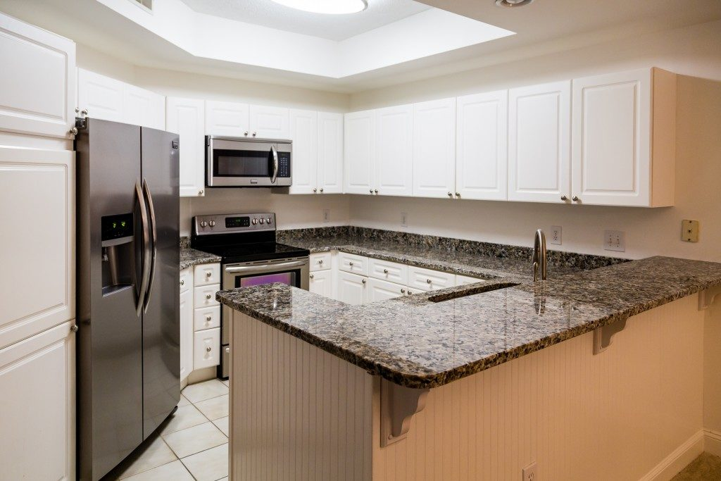 Granite countertops in a clean kitchen