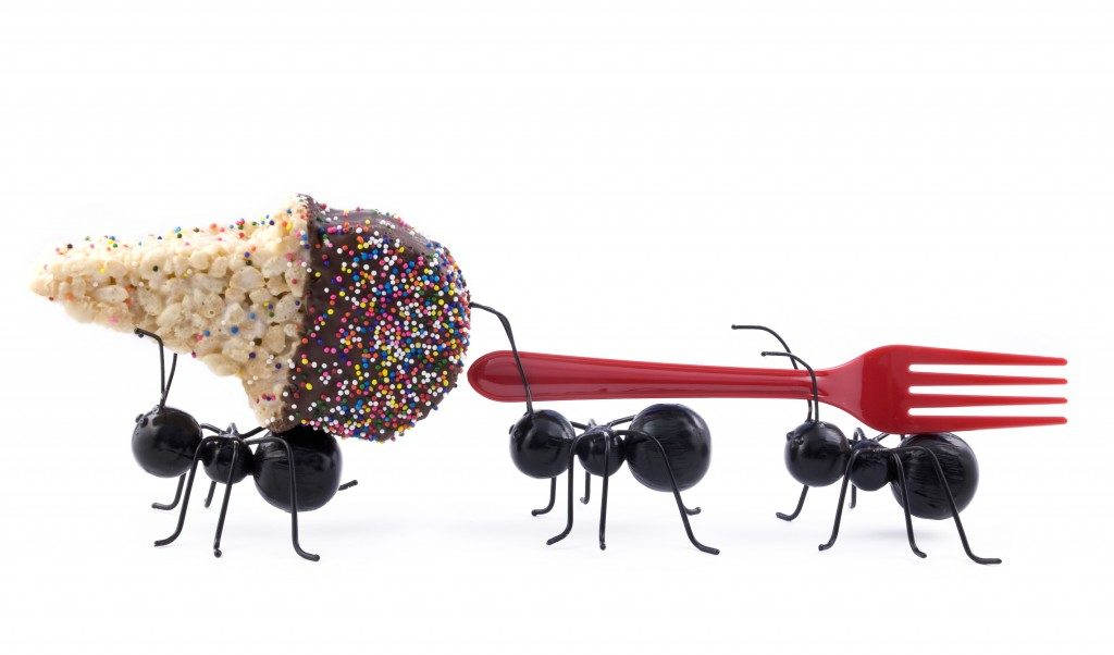 Ants carrying ice cream and fork
