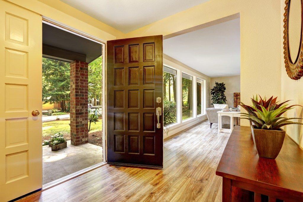 Hallway with hardwood floor