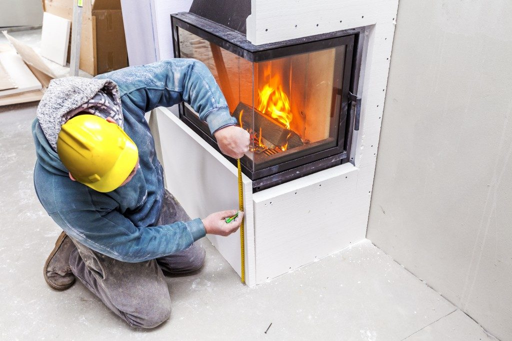 checking a modern fireplace
