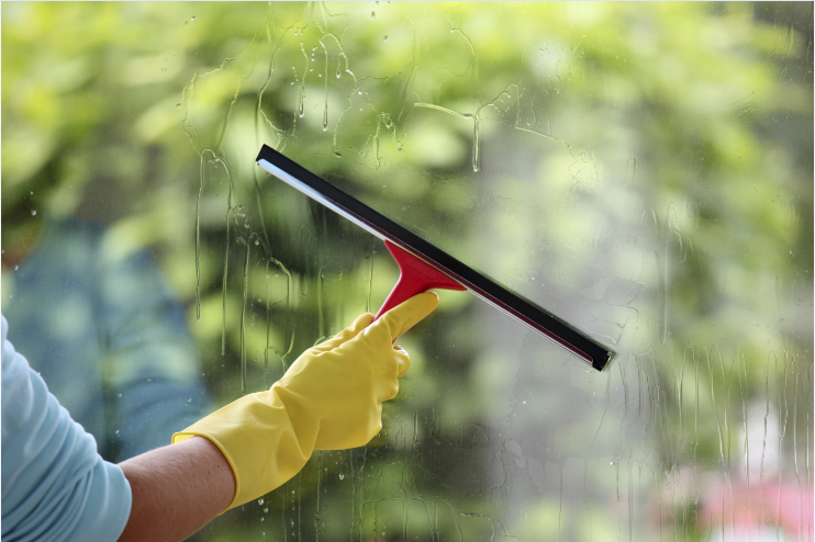 hand cleaning window
