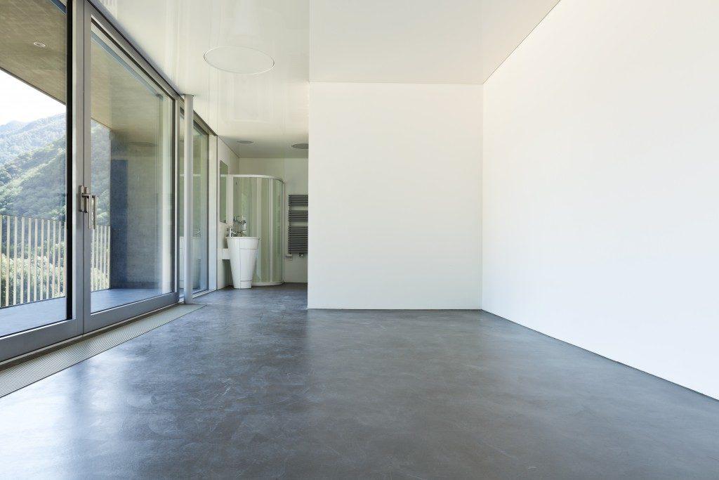 Bathroom with concrete floor