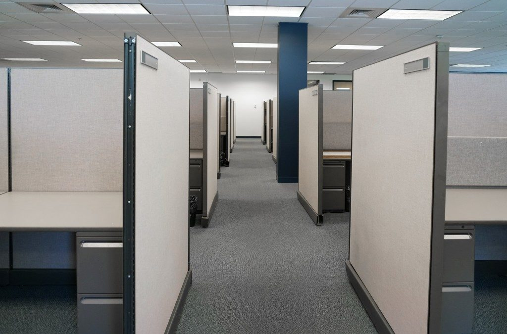 cubicles inside office building