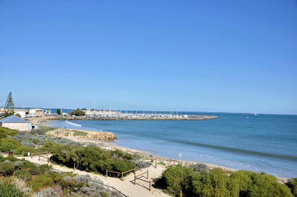 View of Fremantle Harbour and Beach on a Clear Winter Day, Australia