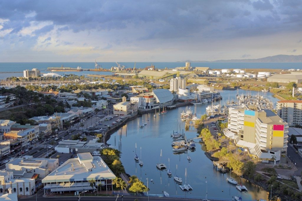 aerial view of Townsville in the late afternoon