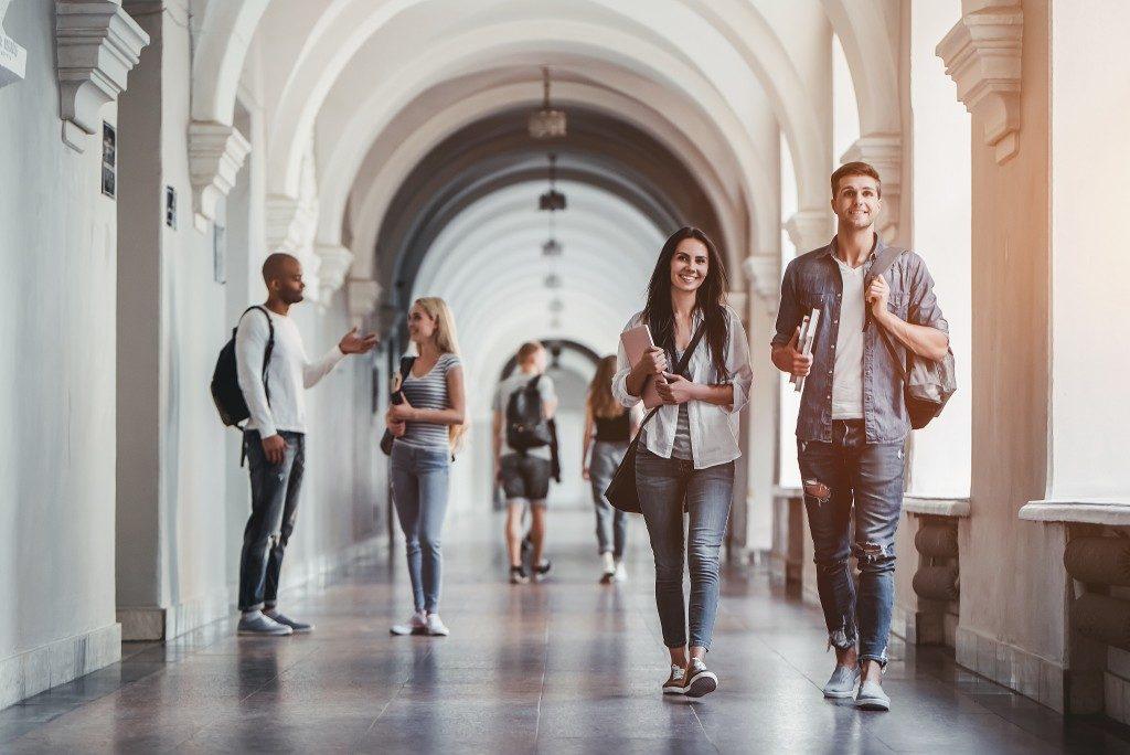 College students in university hallways