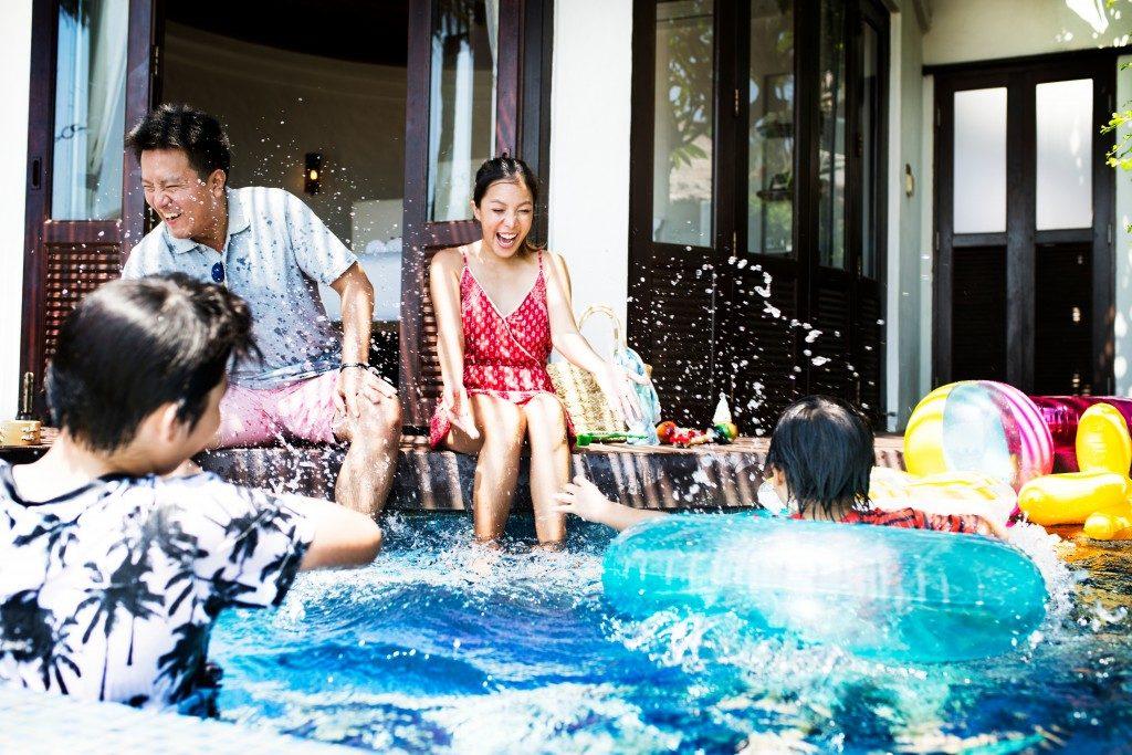 People enjoying the pool
