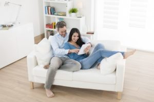 couple sitting on the living room