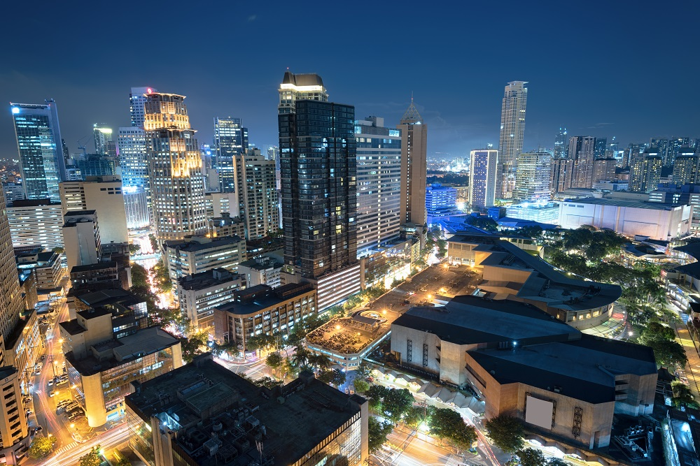 central business district at night
