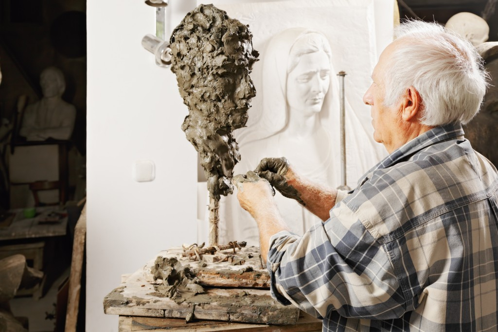 Sculptor working