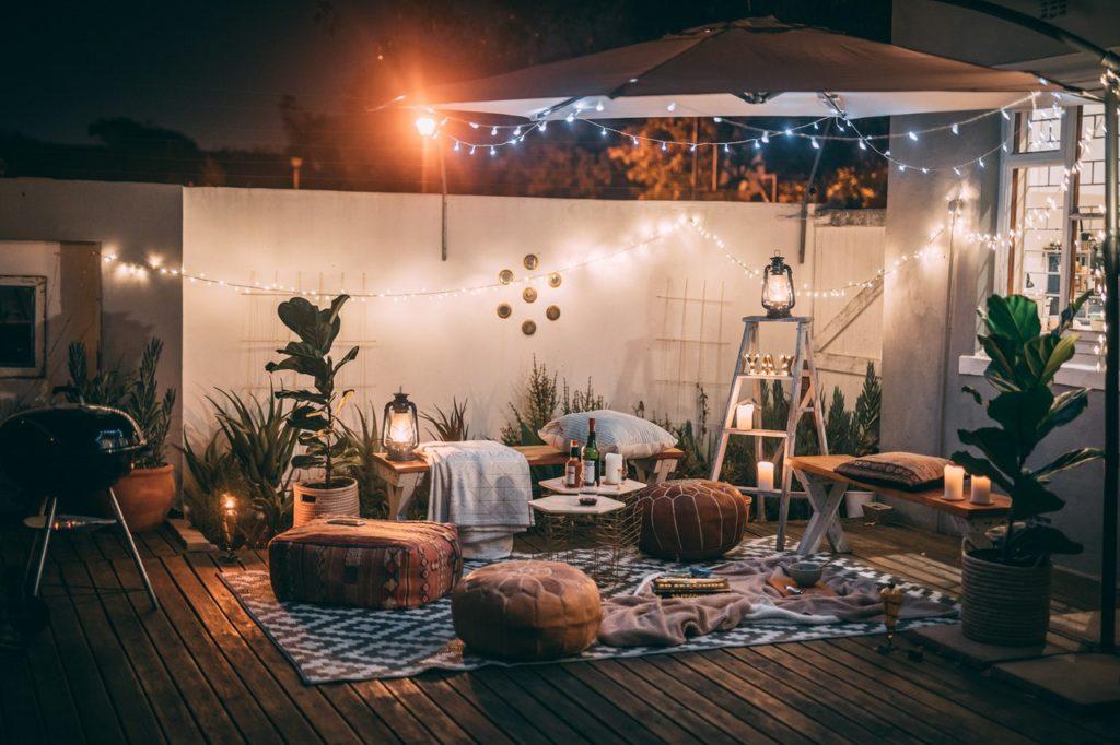 a beautiful deck on a backyard