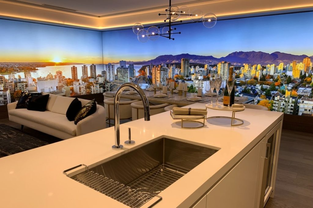 kitchen with a backdrop