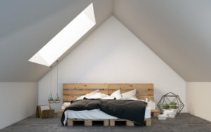 bedroom near the ceiling